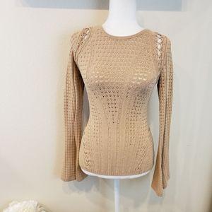 Ronny Kobo Tan Knit Sweater